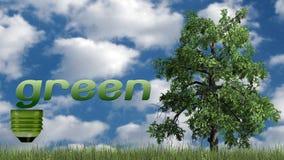 Texto e árvore verdes - conceito da ecologia Foto de Stock Royalty Free