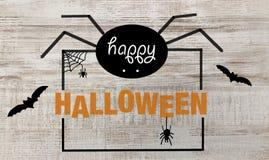Texto e aranhas felizes de Dia das Bruxas ilustração stock