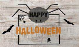 Texto e aranhas felizes de Dia das Bruxas ilustração royalty free