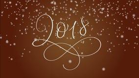 texto e neve da rotulação da caligrafia do ano 2018 novo feliz no fundo vermelho Animação do cumprimento do Natal para a bandeira ilustração do vetor