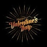 Texto e rotulação felizes do dia de Valentim Imagem de Stock