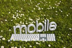 Texto e teclado móveis Foto de Stock Royalty Free