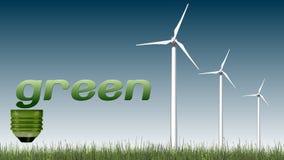Texto e turbinas eólicas verdes - conceito da ecologia Fotos de Stock Royalty Free
