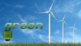 Texto e turbinas eólicas verdes - conceito da ecologia Fotografia de Stock Royalty Free