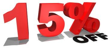 Texto el 15% de la promoción de venta apagado imagenes de archivo