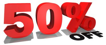 Texto el 50% de la promoción de venta apagado Fotos de archivo libres de regalías