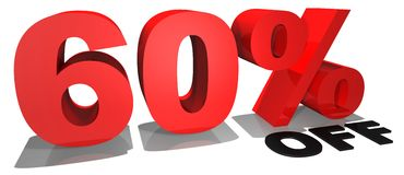 Texto el 60% de la promoción de venta apagado Fotografía de archivo