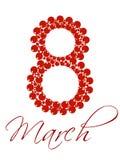 Texto el 8 de marzo para el día de las mujeres internacionales. Fotos de archivo