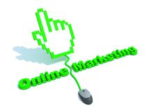 Texto em linha do mercado com cursor da mão Fotografia de Stock Royalty Free