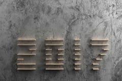 texto 2017 en el estilo de madera en el cemento crudo Fotografía de archivo libre de regalías