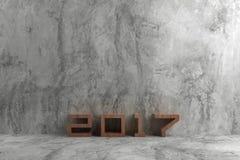 texto 2017 en el estilo de madera en el cemento crudo Foto de archivo