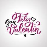 Texto escrito à mão de Feliz San Valentin em espanhol ilustração stock