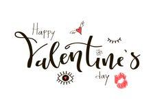 Texto escrito à mão feliz da caligrafia do dia de Valentim com garatuja e Fotos de Stock Royalty Free