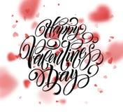 Texto escrito à mão feliz do dia de Valentim no fundo borrado do coração Ilustração do vetor ilustração do vetor