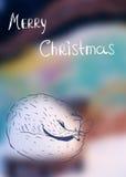 Texto escrito dibujado mano linda del zorro y de la mano en fondo nevoso Tarjeta de Navidad Fotos de archivo libres de regalías