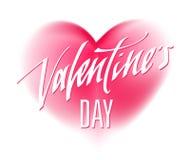 Texto escrito à mão feliz do dia de Valentim para o convite, inseto, cartão Fotos de Stock Royalty Free