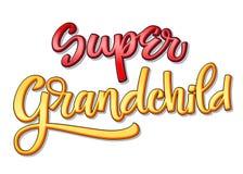 Texto estupendo de la familia - caligrafía estupenda del color de Drandchild stock de ilustración