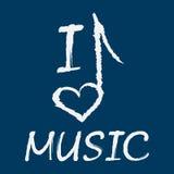 Texto eu amo a música A nota na forma de um coração grunge Imagens de Stock