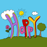 Texto feliz Foto de Stock Royalty Free