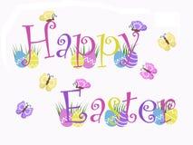 Texto feliz aislado con los huevos, hierba, mariposas de Pascua con el fondo blanco Imagen de archivo libre de regalías
