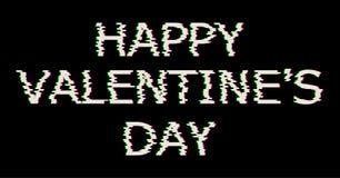Texto feliz blanco del día de tarjetas del día de San Valentín en estilo de la interferencia Ejemplo del corazón del vector con,  Imagenes de archivo