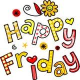Texto feliz Clipart dos desenhos animados de sexta-feira Fotografia de Stock Royalty Free