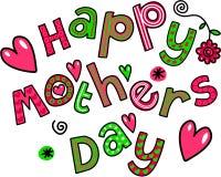 Texto feliz da garatuja dos desenhos animados do dia de mães Foto de Stock