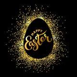 Texto feliz da Páscoa isolado no fundo textured com confetes dourados Imagem de Stock