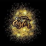 Texto feliz da Páscoa isolado no fundo textured com confetes dourados Foto de Stock Royalty Free