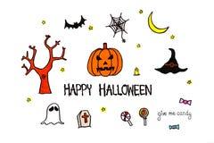Texto feliz de Dia das Bruxas Entregue a abóbora tirada, bastão, fantasma, doces, spi Imagens de Stock