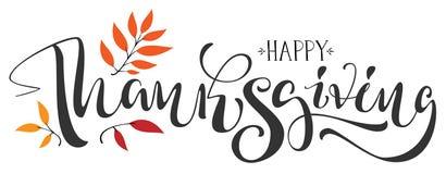Texto feliz de la caligrafía de la acción de gracias para la tarjeta de felicitación