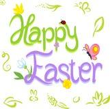 Texto feliz de la caligrafía de Pascua con diseño de la primavera Foto de archivo libre de regalías