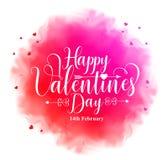 Texto feliz de la caligrafía del día de tarjetas del día de San Valentín en acuarela colorida ilustración del vector