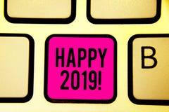 Texto 2019 feliz de la escritura Horario de Greenwich o día del concepto en los cuales un nuevo año civil comienza de ahora en ad Libre Illustration