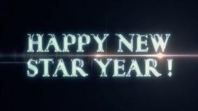 Texto FELIZ de neón del AÑO del laser NEW STAR del azul suave con la animación óptica ligera brillante de las llamaradas en el fo ilustración del vector
