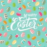Texto feliz de Pascua con el conejito libre illustration