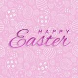 Texto feliz de Pascua en el fondo rosado de pascua para la tarjeta de felicitación Modelo del vector libre illustration