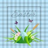 Texto feliz de Pascua en fondo celular con la hierba, las margaritas y los huevos de Pascua para la tarjeta de felicitación pascu ilustración del vector