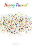Texto feliz del carnaval de Purim del vector con la tira de papel de la nube del confeti de los colores coloridos del arco iris a Imágenes de archivo libres de regalías