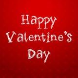 Texto feliz del día de tarjetas del día de San Valentín en fondo rojo Foto de archivo libre de regalías