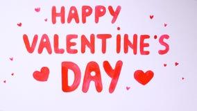 Texto feliz del día del ` s de la tarjeta del día de San Valentín de la belleza dibujado en un fondo blanco