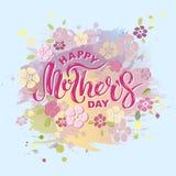 Texto feliz del día del ` s de la madre aislado en fondo del color en colores pastel Fotos de archivo