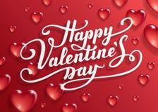 Texto feliz del día del ` s de la tarjeta del día de San Valentín ilustración del vector