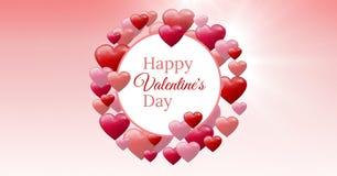 Texto feliz del día del ` s de la tarjeta del día de San Valentín y corazones burbujeantes de las tarjetas del día de San Valentí Imagen de archivo