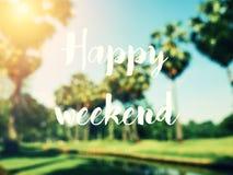 Texto feliz del fin de semana con los árboles de coco de la falta de definición y el cielo del color Imagen de archivo libre de regalías