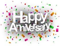 Texto feliz do aniversário com confetes Fotografia de Stock
