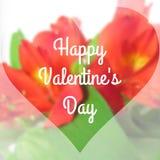 Texto feliz do dia de Valentim no fundo Blurred com flor da orquídea Fotos de Stock Royalty Free