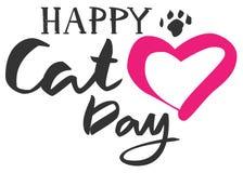 Texto feliz do dia do gato Forma do coração e pegada do gato ilustração stock
