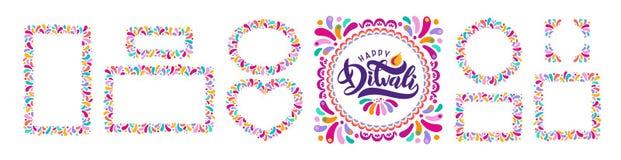 Texto festivo brilhante Diwali, grupo de quadros decorativos do rangoli do ornamento, beiras Rotulando o festival indiano Divali ilustração royalty free
