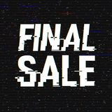 Texto final de la interferencia de la venta Efecto del anáglifo 3D Fondo retro tecnológico Concepto en línea de las compras Venta stock de ilustración